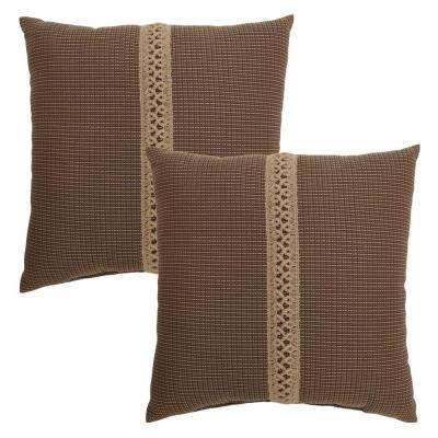 18 in. Bark Texture Outdoor Toss Pillow with Jute Braid (2-Pack)