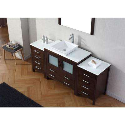 Dior 73 in. W Bath Vanity in Espresso with Stone Vanity Top in White with Square Basin and Mirror and Faucet