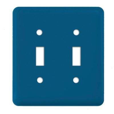 Steel 2 Gang Toggle Wall Plate - Sky Blue