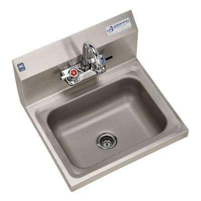 H30-Series Wall Mount Stainless Steel 17x15.5x13 in. 2-Hole Single Bowl Hand Sink