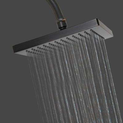 1-Spray 8 in. Single Wall Mount  Fixed Rain Shower Head in Rubbed Bronze