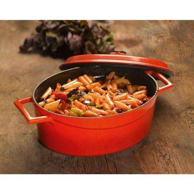 Signature 5 Qt. Enameled Cast Iron Oval Dutch Oven in Cayenne Red
