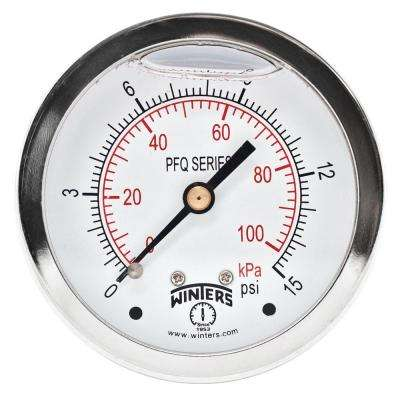 PFQ Series 2.5 in. Stainless Steel Liquid Filled Case Pressure Gauge with 1/4 in. NPT CBM and Range of 0-15 psi/kPa