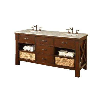 Xtraordinary Spa 70 in. Double Vanity in Dark Brown with Marble Vanity Top in Carrara White with White Basin