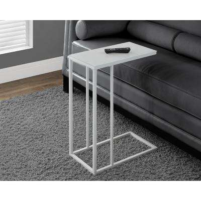 White Metal Glass Top End Table