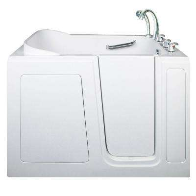 Short 4 ft. x 28 in. Walk-In Air and Hydrotherapy Massage Bathtub in White with Right Drain/Door