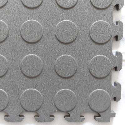 Multi-Purpose 18.3 in. x 18.3 in. Dove Gray PVC Garage Flooring Tile with Raised Coin Pattern (6-Pieces)