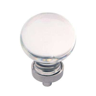 1-3/8 in. Gemstone Glass with Satin Nickel Cabinet Knob