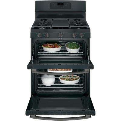6.8 cu. ft. Double Oven Gas Range with Self-Cleaning and Convection Lower Oven in Black Slate, Fingerprint Resistant