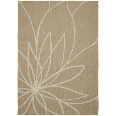 Grand Floral Tan/Ivory 5 ft. x 7 ft. Area Rug