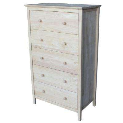 Brooklyn 49.5 in. H x 29.5 in. W 5-Drawer Chest in Unfinished Wood