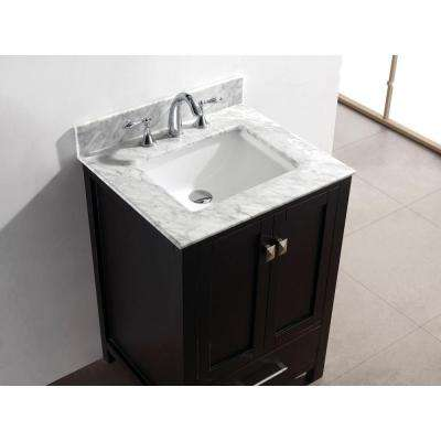 Caroline Avenue 25 in. W Bath Vanity in Espresso with Marble Vanity Top in White with Square Basin and Mirror