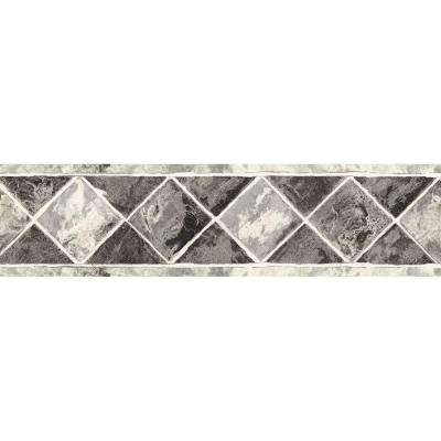 6.75 in. x 15 ft. Black and Silver Contemporary Tile Border