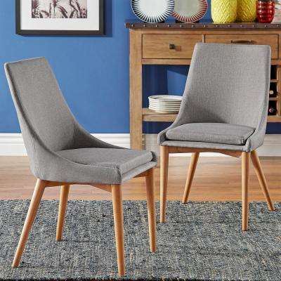 Nobleton Mid Century Linen Dining Chair in Natural/Grey (Set of 2)