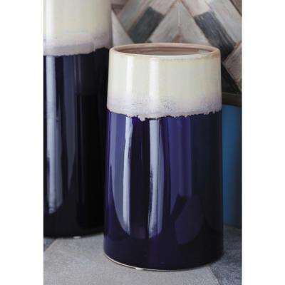 11 in. Contemporary White and Blue Decorative Vase