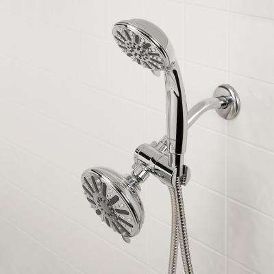 6-spray 5 in. Dual Shower Head and Handheld Shower Head in Chrome