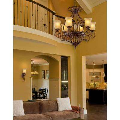 Freemont Collection 6-Light Hanging Antique Bronze Chandelier with Glass Shades