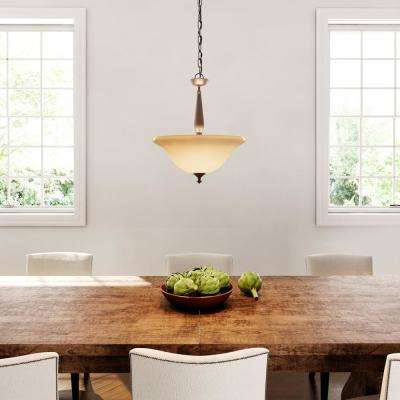 3-Light Oil Rubbed Bronze Pendant with Tea-Stained Glass Shade