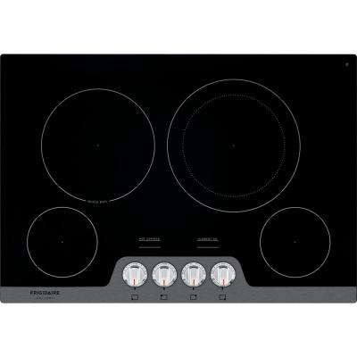 30 in. Radiant Smooth Electric Cooktop in Stainless Steel with 4 Elements