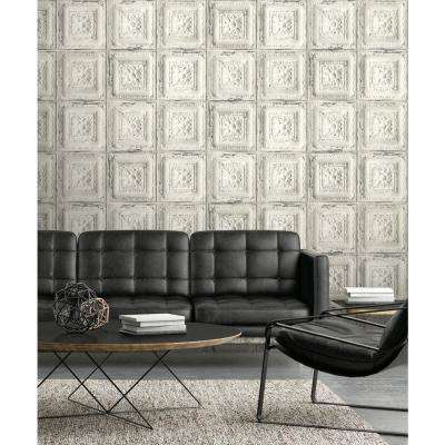 Distressed Tin Tile Peel and Stick Wallpaper