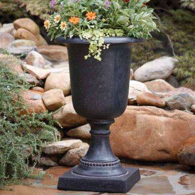 17-1/2 in. x 29 in. Cast Stone Italian Urn in Aged Charcoal