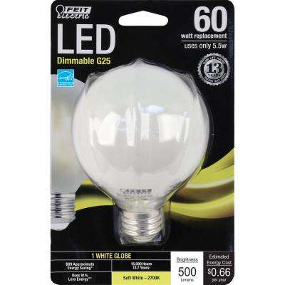 60W Equivalent Soft White G25 Dimmable Frost LED Light Bulb (Case of 12)