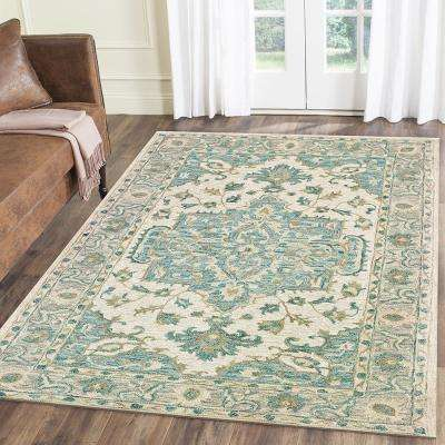 Modern Traditions Turquoise Gray 9 ft. x 12 ft. Indoor Area Rug