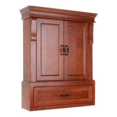 Naples 26-1/2 in. W x 32-3/4 in. H x 8 in. D Bathroom Storage Wall Cabinet in Warm Cinnamon
