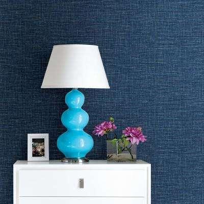 56.4 sq. ft. Exhale Denim Faux Grasscloth Wallpaper