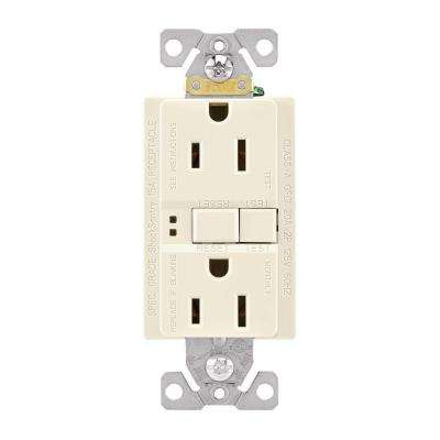 GFCI Self-Test 15A -125V Duplex Receptacle with Standard Size Wallplate, Light Almond