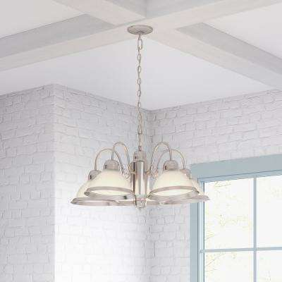 Halophane 5-Light Brushed Nickel Chandelier with Frosted Ribbed Glass Shades