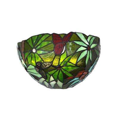 Stained Glass Half Moon Rain Forest LED Sconce with 3 Stage Dimmer