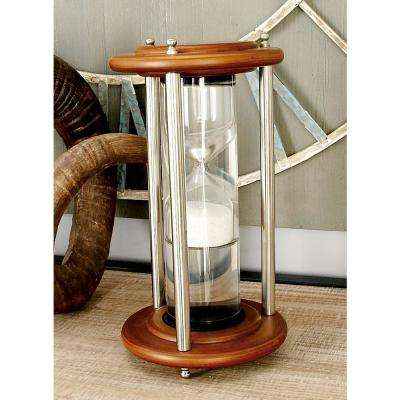 6 in. x 11 in. Cherrywood Brown Mango Wood, Silver Aluminum and Clear Glass Floating Sandtimer