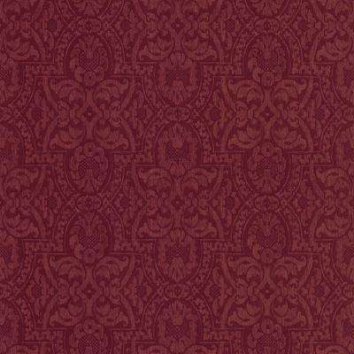56 sq. ft. Purple Fortune Damask Wallpaper