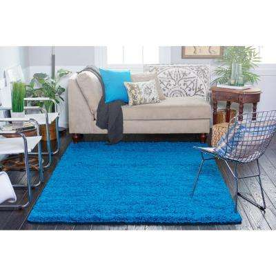 Solid Shag Turquoise 8 ft. Round Area Rug