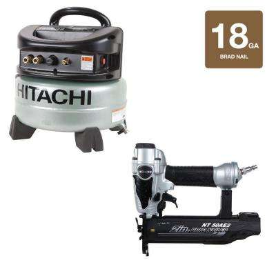 2 in. x 18-Gauge Finish Nailer and 6 Gal. Oil-Free Pancake Compressor Kit (2-Piece)