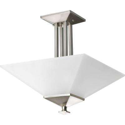 North Park Collection 2-Light Brushed Nickel Semi-Flush Mount Light
