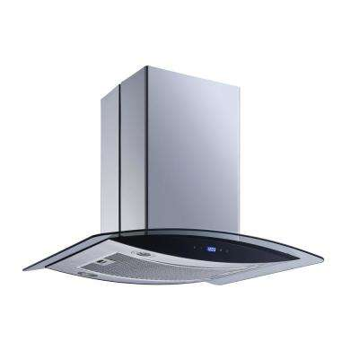30 in. Convertible Island Mount Range Hood in Stainless Steel and Glass with LED Lights and Touch Control