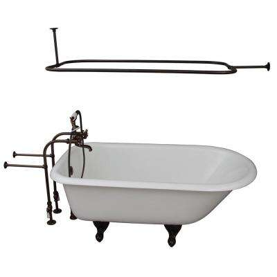 5 ft. Cast Iron Ball and Claw Feet Roll Top Tub in White with Oil Rubbed Bronze Accessories