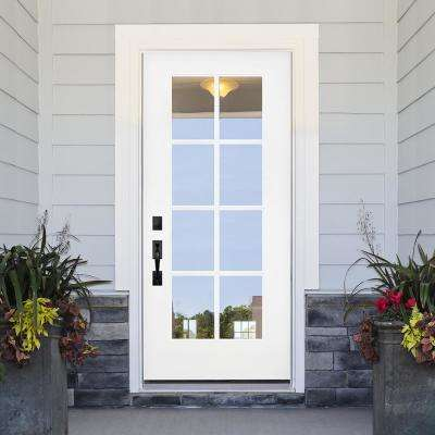 32 in. x 80 in. Legacy Series 8 Lite Clear Glass Right-Hand Inswing Primed Fiberglass Prehung Front Door