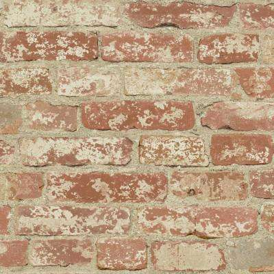 28.18 sq. ft. Stuccoed Red Brick Peel and Stick Wall Decor
