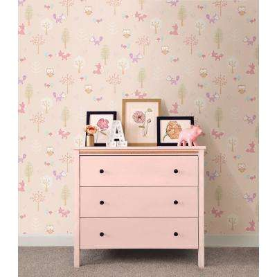 56.4 sq. ft. Pink Forest Friends Animal Wallpaper