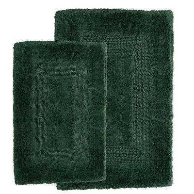 Lavish Home Green 1 ft. 10 inch x 2 ft. 11 inch Cotton 2-Piece Bath Rug Set