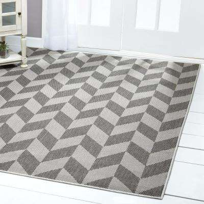 Patio Country Black/Gray 7 ft. 9 in. x 10 ft. 2 in. Indoor/Outdoor Area Rug