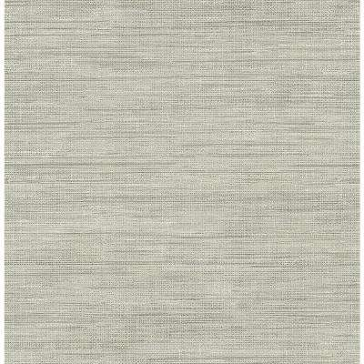 8 in. x 10 in. Island Grey Faux Grasscloth Wallpaper Sample