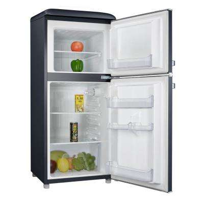 4.0 cu. ft. Retro Mini Refrigerator with Dual Door True Freezer in Black