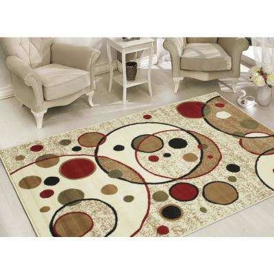 Clifton Collection Modern Circles Design Beige 5 ft. x 7 ft. Area Rug
