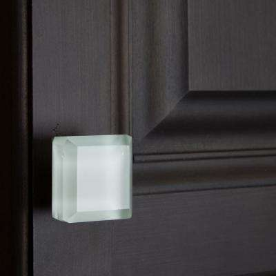 1-1/2 in. Square White Glass Cabinet Knobs (10-Pack)
