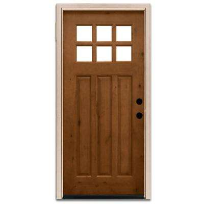 Craftsman 6 Lite Stained Knotty Alder Wood Prehung Front Door