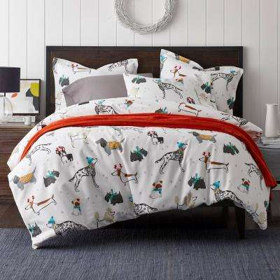 Holiday Dog Flannel Duvet Cover